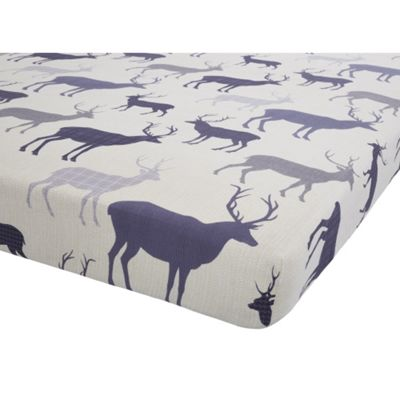 Catherine Lansfield Navy Grampian Stag Fitted Sheet - Single
