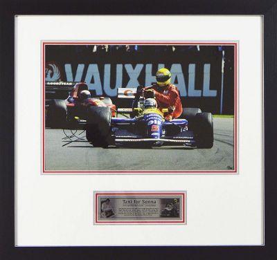 Signed NIGEL MANSELL Limited Edition F1 Framed Print - Taxi AYRTON SENNA - COA