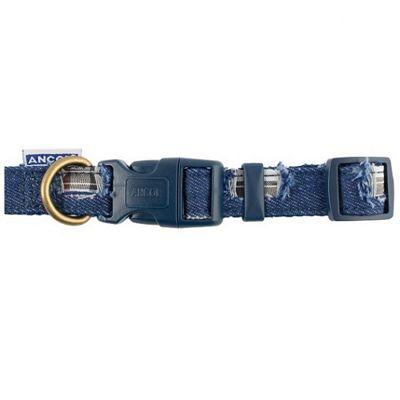 Ancol Indulgence Patchwork Adjustable Dog Collar - Blue - 20cm-30cm