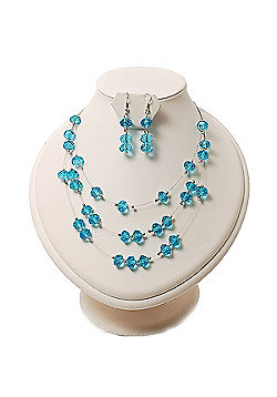 Azure Crystal Floating Bead Necklace & Drop Earring Set - 52cm Length