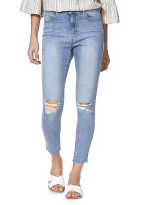 F&F Mid Rise Ankle Grazer Skinny Jeans Mid Wash 14 Long leg