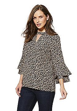 F&F Leopard Print Choker Top - Brown & Black