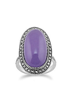 Gemondo 925 Sterling Silver Art Deco Lavendar Jade & Marcasite Statement Ring