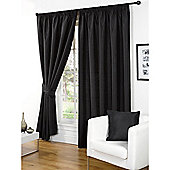 Hamilton McBride Faux Silk Pencil Pleat Black Curtains - 46x90 Inches (117x229cm) Includes Tiebacks