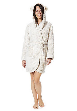 F&F Pom Pom Trim Teddy Fleece Dressing Gown - Oatmeal