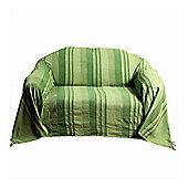 Homescapes Cotton Morocco Striped Green Throw, 150 x 200 cm