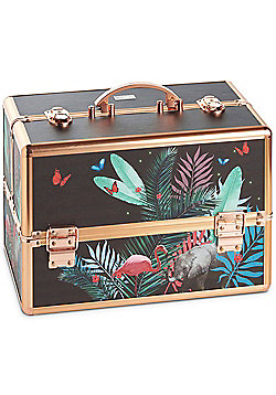 Beautify Large Jungle Print Lockable Vanity Make Up Beauty Storage Case
