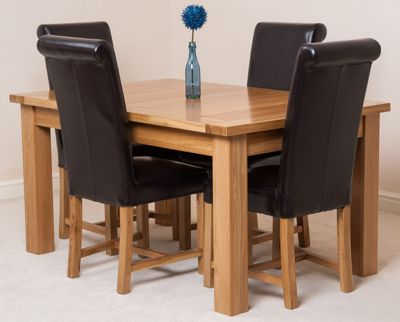 Seattle Solid Oak Extending 150 - 210 cm Dining Table with 4 Brown Washington Leather Chairs
