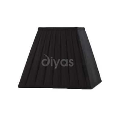 Leela Square Pleated Fabric Shade Black 200mm