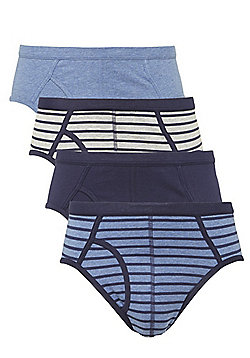 F&F 4 Pack of Striped and Plain Briefs - Blue