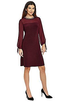 Wallis Tie Sleeve Embellished Neck Dress - Berry