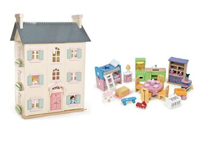 Le Toy Van Cherry Tree Hall and Starter Furniture Bundle