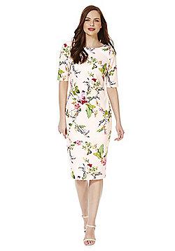 F&F English Garden Print Scuba Pencil Dress - Blush pink