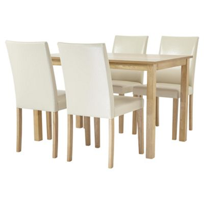 table and 4 chairs. claydon dining table and 4 chair set, oak-effect cream chairs