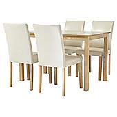Claydon Table and 4 Chair Set, Oak-effect and Cream