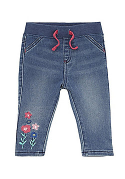 F&F Flower Embroidered Rib Waist Jeans - Mid wash