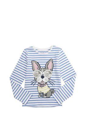 F&F Striped Dog Motif Long Sleeve T-Shirt Multi 10-11 years