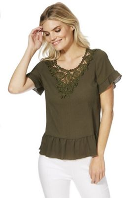 Solo Lace Neck Peplum Top Khaki 14