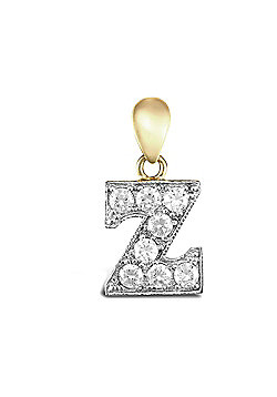 9ct Yellow Gold Cubic Zirconia Initial Charm Identity Pendant - Letter Z