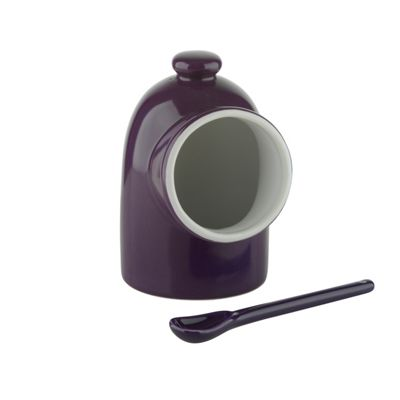 BIA SCOOP! Stoneware Salt Pig with Spoon, Purple