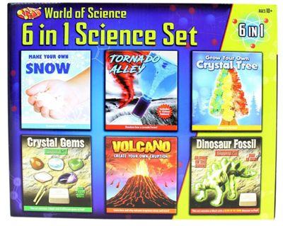 6 in 1 Science Kit Volcano Tornado Crystal Gems Dinosaur Fossil Dig Set Toy
