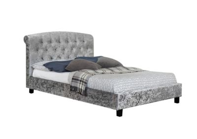 Comfy Living 4ft6 Double Luxury Crushed Velvet Bed Frame with Buttoned Headboard in Silver with Sprung Mattress