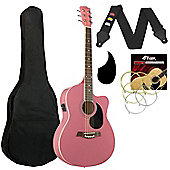Tiger Pink Electro Acoustic Guitar Pack