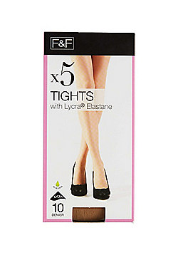 F&F 5 Pack of 10 Denier Tights - Natural