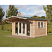 4.0m x 3.0m Contemporary Log Cabin With Double Doors - 34mm Wall Thickness - INSTALLED