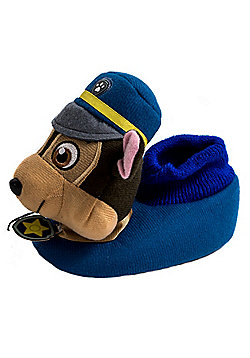 Paw Patrol Chase Blue Childrens 3D Plush Boys Slippers - Blue