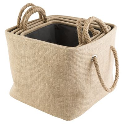 Jute Set Of 4 Storage Baskets Rope Handle  sc 1 st  Tesco & Buy Jute Set Of 4 Storage Baskets Rope Handle from our Storage ...