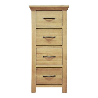 London Light Oak Narrow 4 Drawer Chest