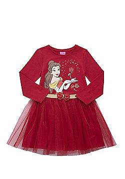 Disney Princess Belle Long Sleeve Tutu Dress - Red