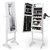 Beautify Make Up & Jewellery Floor Standing Storage Mirror - White