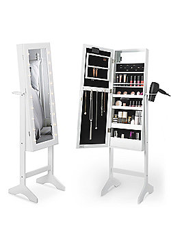 Beautify Make Up & Jewellery Floor Standing Storage Mirror - White