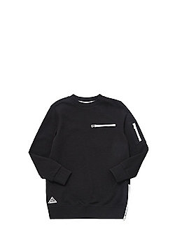 F&F Long Line Zip Detail Sweatshirt with As New Technology - Black