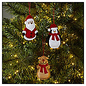 Felt Character Christmas Tree Decorations, 6 pack