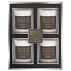 Pack of 4 Baylis & Harding Black Pepper & Ginseng Votive Candles