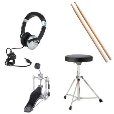 JB's Music Electronic Add On Pack 2 - Includes Stool, Sticks, Headphones, Bass Drum Pedal, Designed For Roland TD4KP, TD11K, TD11KV, TD15K, TD15KV