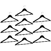 Harbour Housewares Pack of 10 Black Wooden Clothes / Coat Hangers