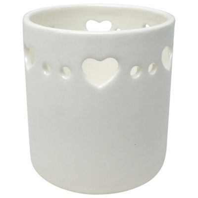 Tesco White Ceramic Heart Tea Light Holder
