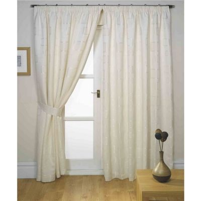 Hamilton McBride Milano Pencil Pleat Lined Natural Curtains & Tie backs - 90x90 Inches (229x229cm)