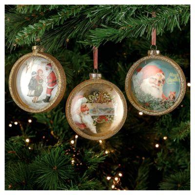 Festive Santa Scenes In Glass Hanging Decoration, 3 Pack