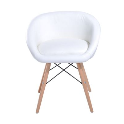 Homcom Faux Leather Padded Chic Dining Chair with Wooden Legs Living Room Furniture (White)