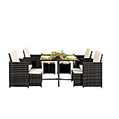 Comfy Living 9PC Rattan Outdoor Garden Patio Furniture Set In Dark Grey With Cover - 4 Chairs 4 Stools & Dining Table