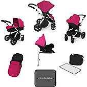 Ickle Bubba Stomp V3 AIO Travel System with 2 x Isofix Base + Mosquito Net Pink (Silver Chassis)