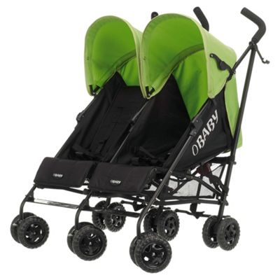Obaby Apollo Twin Stroller, Black/Lime