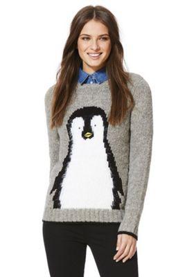 Yumi Fluffy Penguin Christmas Jumper L Grey