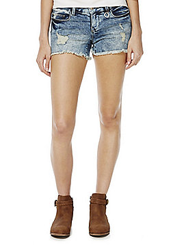 Only Ripped Frayed Hem Denim Shorts - Light wash