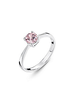Jo For Girls Silver Pink CZ Solitaire Ring - Small (F)